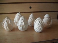 Unpainted Ceramic Bisque Ready to paint first Christmas SET of SIX Rolly Polly Santa ornaments ready to paint Unpainted ceramic u paint DIY by MapleHillCeramics on Etsy