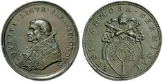VATICAN CITY STATE Julius II. della Rovere. 1503-1513, restituted Bleimedaill undated (circa 1670 stamp of Girolamo Paladino) at the election of the pope in the year 1503. Meanwhile, bust l. Tonsured, pluvial and stole. Rs: tiara and crossed keys of Peter over Rovere