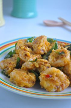 Squid (Sotong) in Custard Salted Egg Yolk Sauce 奶黄咸蛋苏东
