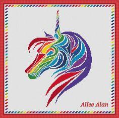 Cross Stitch Pattern Silhouette Unicorn head Rainbow от HallStitch