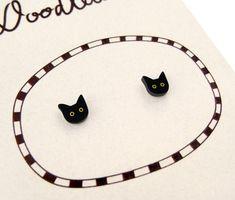 Super Tiny Black Cat Shrink Plastic Stud Earrings by DOODLEWORM on Etsy https://www.etsy.com/listing/247454531/super-tiny-black-cat-shrink-plastic-stud