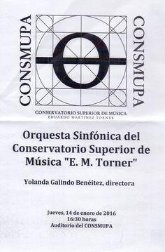 Concierto de la Orquesta Sinfónica del CONSMUPA. Jueves, 14 de enero de 2016. 16:30 horas.