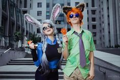 Zootopia Nick Wild and Judy Hopps Cosplay Costume