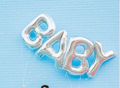 """Giant BABY Balloons - 40"""" Inch Silver Mylar Balloons in Letters B-A-B-Y - Metallic Silver - Baby Shower Balloons, Shower Decorations"""