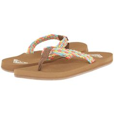 Roxy Porto Women's Sandals ($26) ❤ liked on Polyvore featuring shoes, sandals, roxy shoes, roxy sandals, roxy footwear, braided thong sandals and flat thong sandals