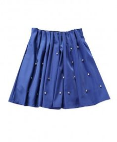 Blue Soft High Waist Full Skirt with Diamante Embellishment