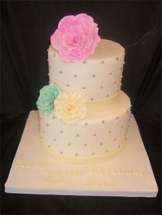 Two-tier cross hatched cake with gumpaste roses for a milestone birthday