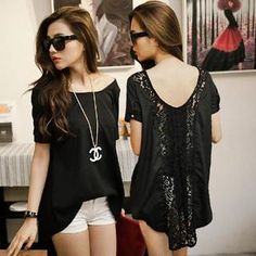 $28.80 Asymmetric-Hem Lace-Back Chiffon Top