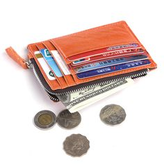 Lady Women Genuine Leather Small Wallet Zipper ID Card Holder Coin Purse