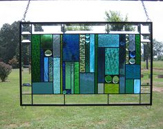 "Ocean and Sea Colors"" Stained Glass Panel 24 1/2"" x 15 1/2"""