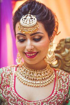 Maang Tikka - Polki and Gold Jewlery with a Big Maang Tikka   WedMeGood #wedmegood #maangtikka #indianjewelry #weddingjewelry #bridal #jewlery