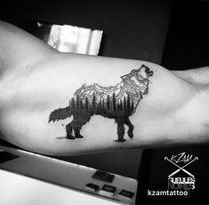 Wolf tattoo | Mountains tattoo | K-Zam (Tattoo artist - Belgium) Gueules Noires Tattoo shop