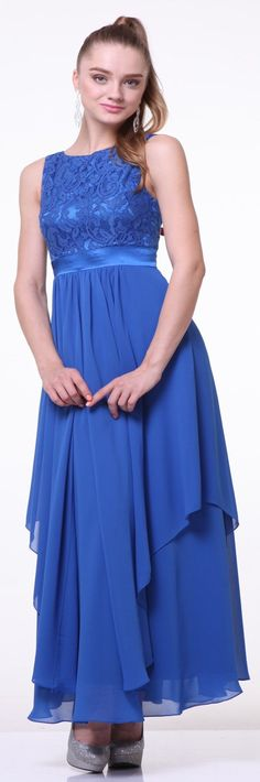 JS Boutique Womens Lace Bodice Gown with Chiffon Skirt Royal 8 >>> Read more at the image link. (This is an affiliate link) Royal Blue Bridesmaid Dresses, Tea Length Bridesmaid Dresses, Royal Blue Dresses, Blue Bridesmaids, Trendy Dresses, Formal Dresses, Marine Uniform, Sweetheart Wedding Dress, Dress Wedding