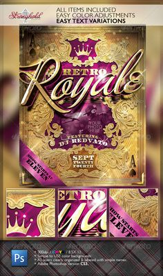 Buy Retro Royal Club Flyer Template by getstronghold on GraphicRiver. Stronghold Branding: About: It's party time for a number of club, sweet sixteen or who even knows how you might use t. Masquerade Party Invitations, Christmas Party Invitations, Poster Design Layout, Flyer Design, Poster Designs, Magazine Design, Poster Festival, Poster Art, Gig Poster