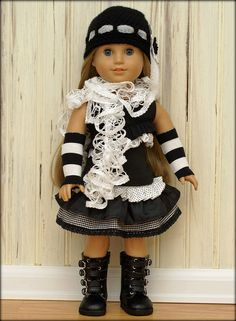 American Girl Doll Clothes-Black and White Delight  checking out the scarf on this A.G. doll.