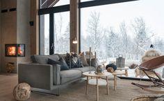 Interiør - Sjemmedalhytta Tiny House Cabin, My House, Alpine House, Alpine Chalet, Scandinavian Cabin, Italy House, Big Sofas, Living Spaces, Living Room
