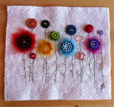 Button and felt flowers picture