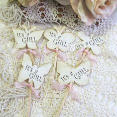 It's a Girl Parchment Butterfly Cupcake Toppers Picks Baby Shower - Set of 14 - Choice of Ribbons