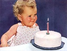 Darling vintage photo of a one-year-old with her birthday cake!