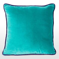 Mya Cotton Velvet Cushion, Teal with Purple Piping, £30   MADE.COM
