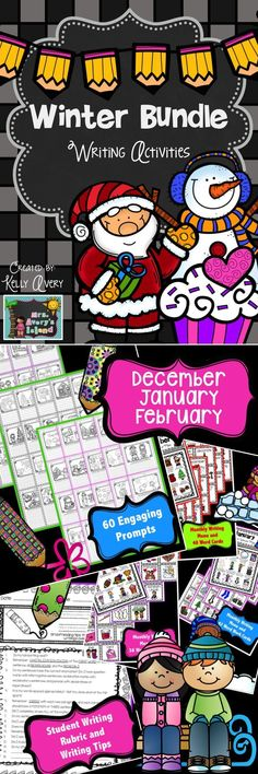 "Keep your students on the ""WRITE"" track this winter with this bundle of 60 engaging winter writing prompts, writing menus, and word work cards.... A perfect resource for Daily 5 Work on Writing and Word Work, morning work, or whole group writing assignments during December, January, and February! #teachersfollowteachers #teacherspayteachers #tpt #iteachtoo #teachers"