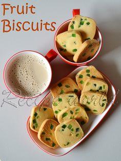 Recipe world: Fruit Biscuits । Karachi Bakery Fruit Biscuits । Tutti Frutti Biscuits Eggless Biscuits, Fruit Biscuits, Shortbread Biscuits, Biscuit Cookies, Biscuit Recipe, Coconut Biscuits, Cake Cookies, Easy Homemade Cookie Recipes, Eggless Cookie Recipes