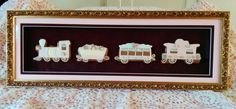 """Rosebud Express"" A framed cookie train, gingerbread, decorated cookies, train, roses"