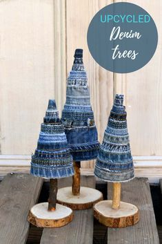 Easy To Make Unique Denim DIY Christmas Tree - Pillar Box Blue These gorgeous denim trees are made from jeans scraps. They make a lovely fall display or decorate the tress for Christmas. Christmas Tree Kinds, Jeweled Christmas Trees, Driftwood Christmas Tree, Christmas Tree Crafts, Christmas Fairy, Christmas Projects, Simple Christmas, Holiday Crafts, Christmas Decorations