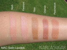 MAC, Satin, lipstick, swatches, Myth, Fleshpot, Siss, Cherish, Peachstock OMG best website so swatches of lip!!! Must save!!