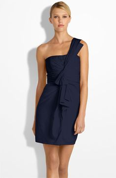 navy one shoulder dress...