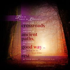 """This is what the LORD says: """"Stand at the crossroads, and look, ask for the ancient paths, ask where the good way is, and walk in it, and you will find rest for your souls."""" Jeremiah 6:16 