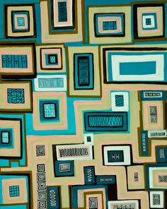 """Original Oil cityscape Painting abstract paintint Wall Decor """"The Apartments"""" by QIQIGALLERY"""