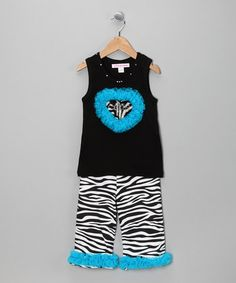 Take a look at this Turquoise Zebra Tank & Capri Pants - Infant & Toddler by Little Diva on #zulily today!