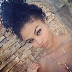messy buns curly hair - Google Search