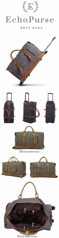 Waxed Canvas Leather Trolley Bag, Duffel Bag, Holdall Luggage Bag with Wheels 12031T
