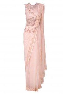 Pink 3D Floral Motifs and Alser Cutwork Drape SareeAvailable at http://www.perniaspopupshop.com/designers/kamaali-couture