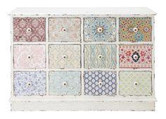 commode pastel patchwork multi tiroirs couleur shabby chic bohème déco chambre