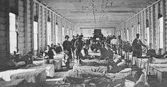 A crowded Civil War hospital ward