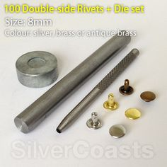 double sided rivets & tool bundle, nickel free, for sewing, leather craft, bags, purses,  jeans, shoes, punk fashion. http://r.ebay.com/ruDI33. £15.00