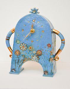 Blue Stroppy Clock by Sarah McCormack - glazed ceramic