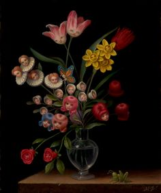 """Bouquet"" Oil on canvas 2007 Marion Peck  Reminds me of Through the Looking Glass"