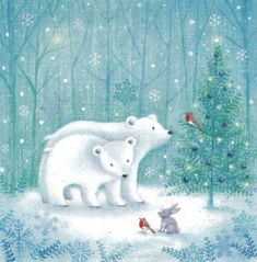 The Holiday Aisle 'Polar Bear Christmas' Wrapped Canvas Graphic Art on Canvas Size: H x W x D Illustration D'ours, Polar Bear Illustration, Christmas Illustration, Polar Bear Christmas, Christmas Animals, Christmas Art, Art D'ours, Canvas Wall Art, Canvas Prints