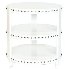 Talia Hollywood Regency White Lacquer Studded Side Table. #kathykuohome