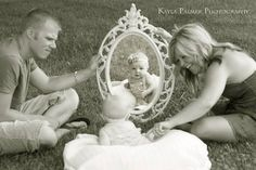Family photo shoot. Photography. Baby girl. Family of three. Mirror.