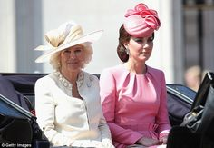 Kate teamed her rosy pink frock with a matching titfer as she joined Camilla, Duchess of Cornwall on her way to the Trooping the Colour parade on Saturday
