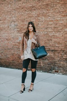 beige sleeveless sweater, free people busted skinny jeans, blanknyc moto jacket, suede moto jacket, neutral outfit, neutral winter outfit // grace wainwright a southern drawl