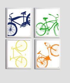 Modern Nursery Bicycle Art Silhouette Orange Green Navy Yellow set of 4 prints on Etsy, $48.00