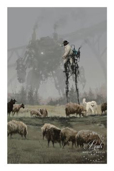 "1920 - Shepherd • Illustrated by Jakub ""Mr. Werewolf"" Rozalski • Archival pigment print • Printed on Hahnemühle Fine Art Baryta 325 GSM fiber paper or Hahnemühle Fine Art 410 GSM Monet Canvas • Varyin"