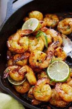 Garlic Honey Lime Shrimp - garlicky, sweet, sticky skillet shrimp with fresh lime. This recipe is so good and easy, takes only 15 mins to make | rasamalaysia.com