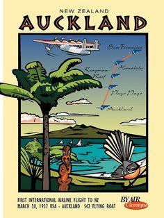 New Zealand, Auckland Postcard - S46B by Contour Creative Studio, via Flickr vintage travel poster